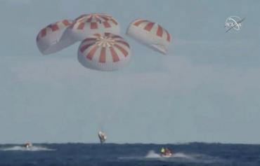 Экипаж Crew Dragon вернулся на Землю