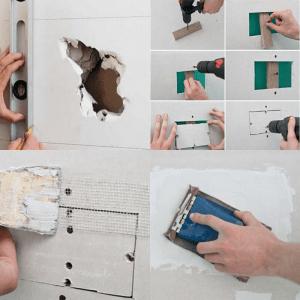Как заделать большую дыру в гипсокартоне