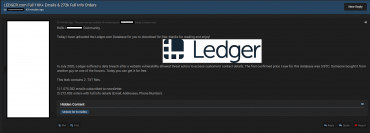 В открытом доступе оказалась база данных пользователей Ledger