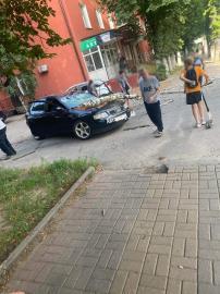 В Курске из-за сильного ветра деревья падают на машины и провода